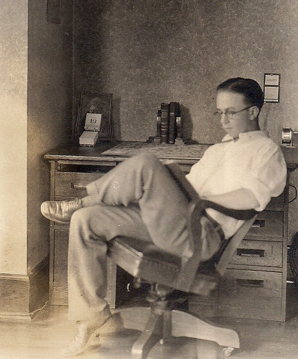 This is a picture of Alden Dow sitting at his desk at University of Michigan