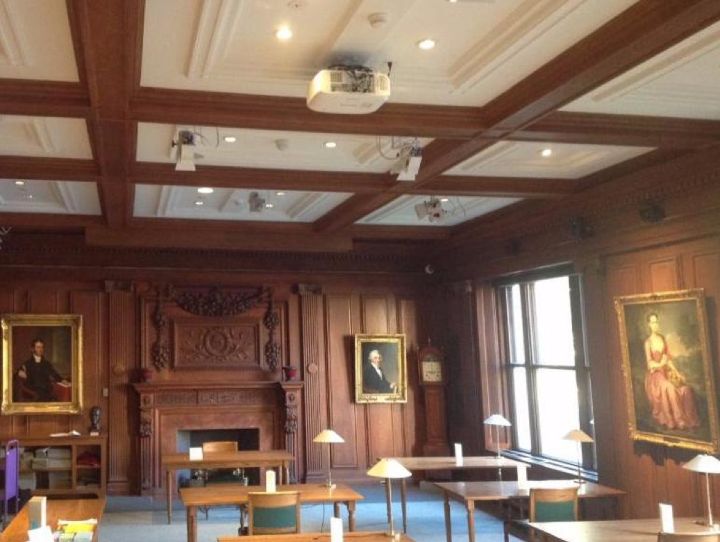 Ellis Hall reading room, the Society's primary lecture space. This room was named after former Society president George E. Ellis. This is also the room in which documents can be brought out and examined. (Photo by Peter Vanderwarker, 2001)