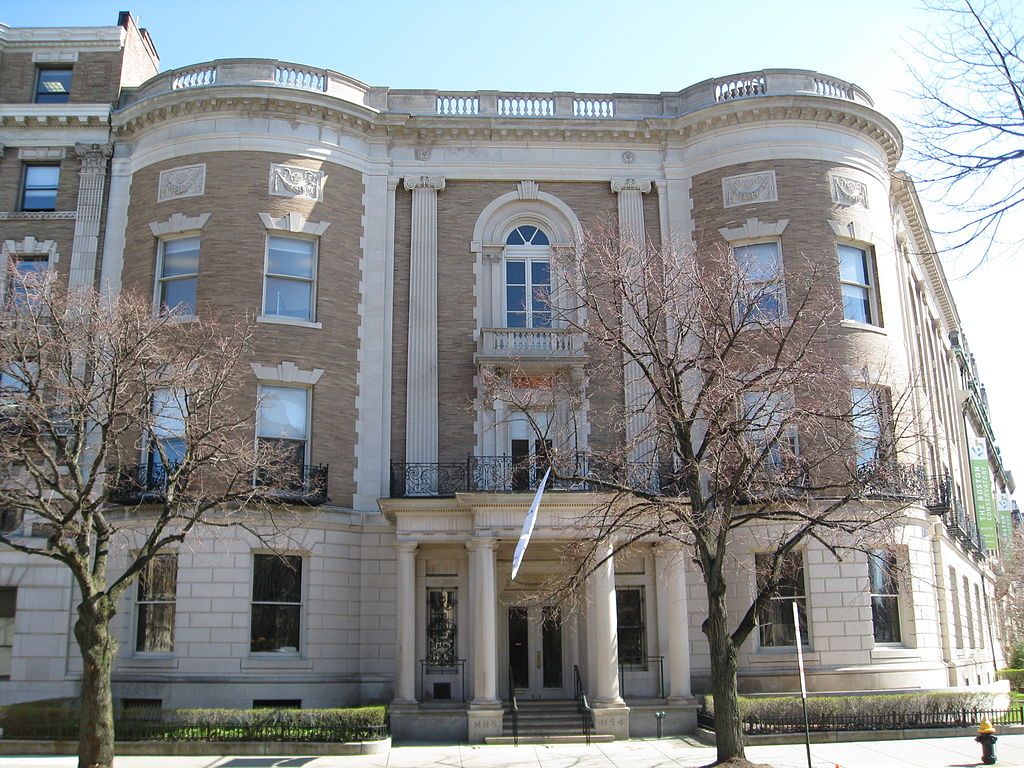 The Society also offers free tours of its building, which is a National Historic Landmark, as well as rotating exhibitions and public lectures. The building has been the location of the society since 1899. (Courtesy of Wikipedia, labelled for reuse)