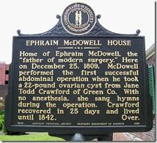 Historical marker outside of McDowell Hoyuse