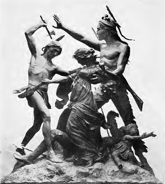 Sculpture from the Fort Dearborn Massacre, Monument by Carl Rohl-Smith (1893). The sculpture portrays the rescue of Margaret Helm by Potawatomi chief Black Partridge.