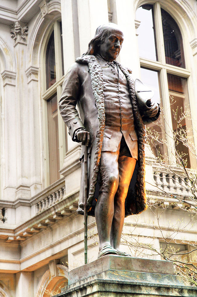 Statue of Benjamin Franklin, who was born in Boston and attended the Latin School, this first formal school in America. The Latin School was located at this exact location between 1704 and 1748.