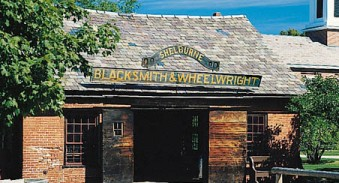 This Blacksmith Shop exhibits blacksmithing tools and procedures used in the 19th- and early 20th-century.