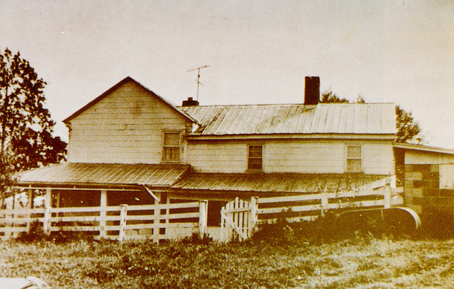 A vintage photo of the Shue House.