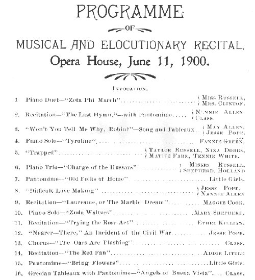 Opera House Program from 1900