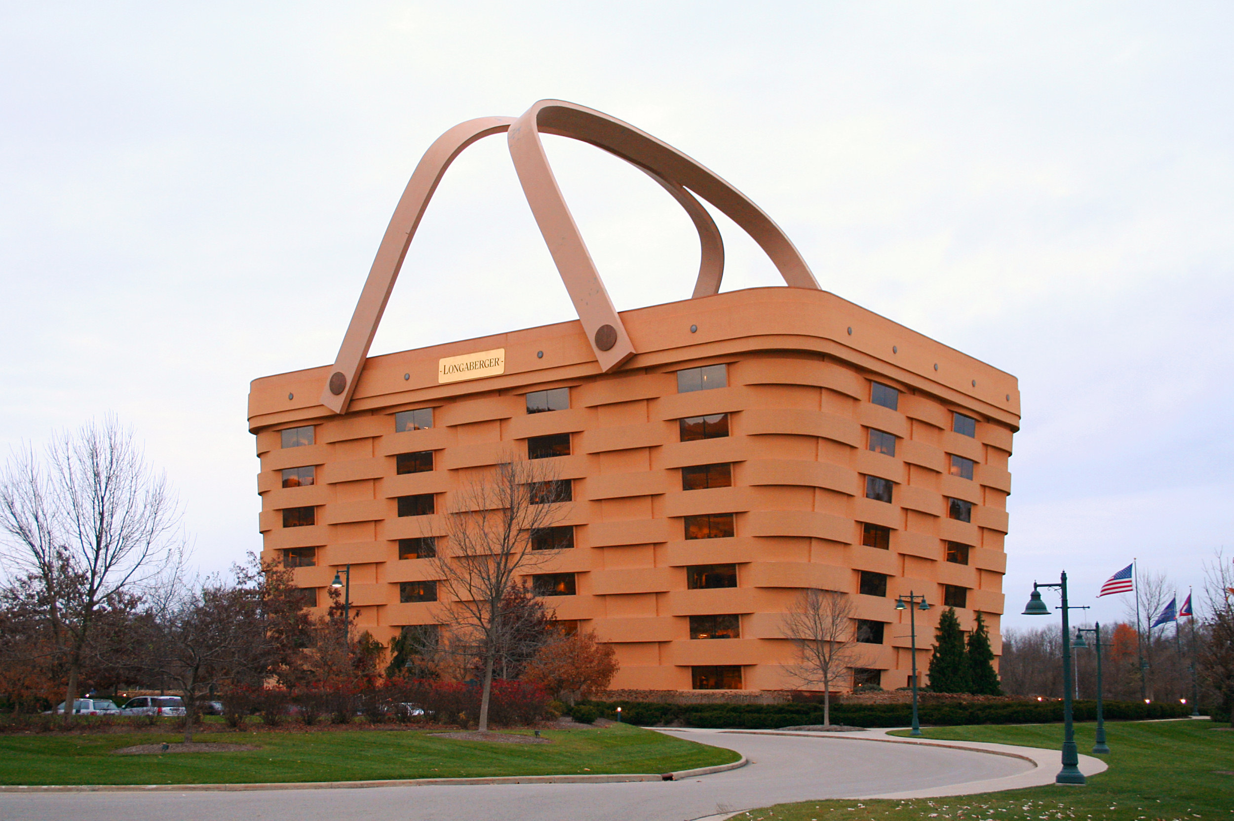 The Longaberger Company operates a museum in this building that has been designed to resemble one of their signature baskets.