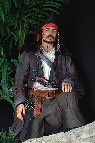 A statue of Johnny Depp as Jack Sparrow in Pirates of the Caribbean movies is one of several wax figures in the museum.