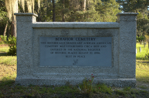 This historical marker provides information about Behavior Cemetery.
