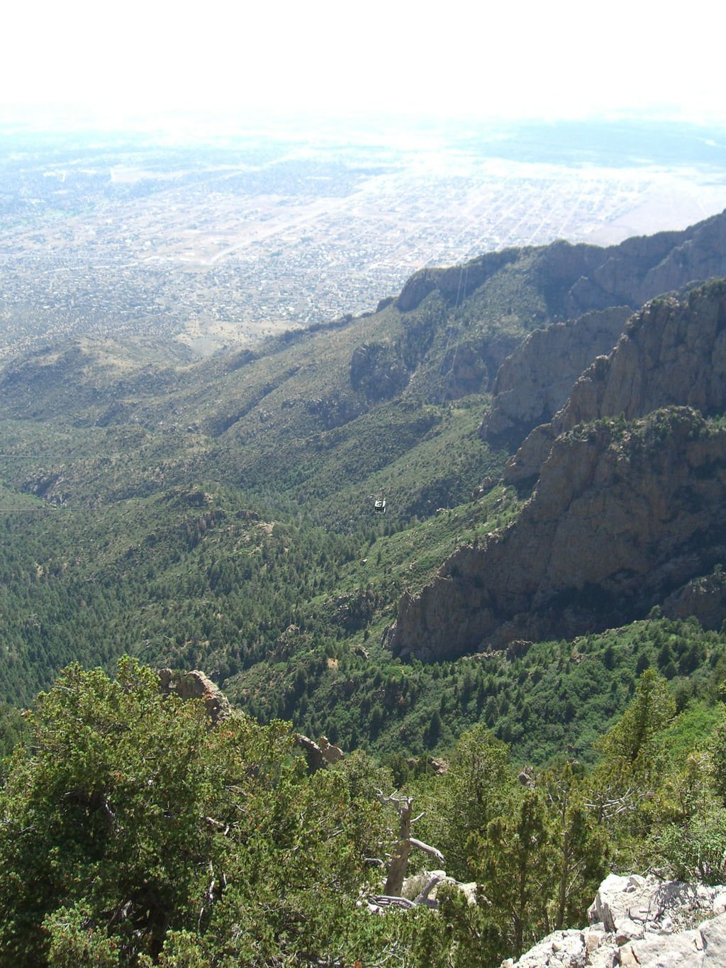 View from the top of Sandia Moutain with Albuquerque in the distance.