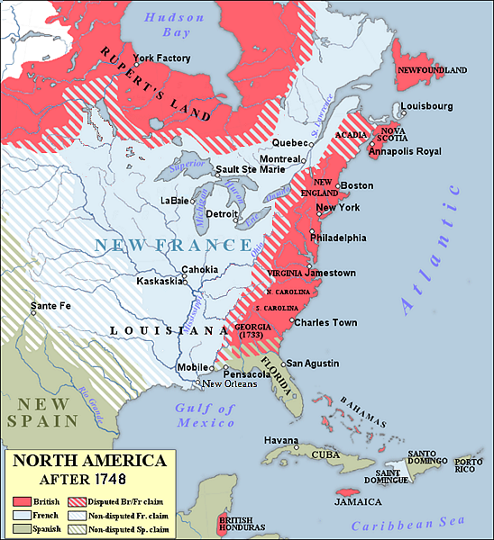 Pre-French & Indian War map of North America showing disputed area.
