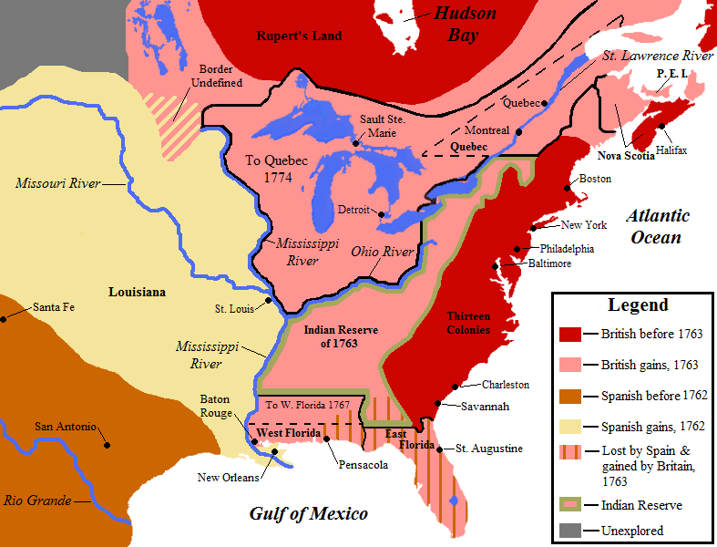 Post war map showing British gains in North America
