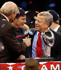 Patriots owner Robert Kraft and Head Coach Bill Belichick celebrating winning Superbowl XXXVI.