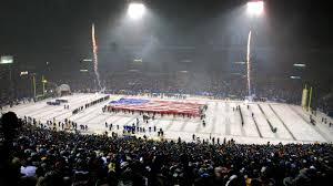 The American flag on the field at the last game in Foxboro Stadium.