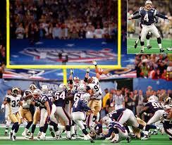 Adam Vinatieri kicking the field goal that won Super Bowl XXXVI.