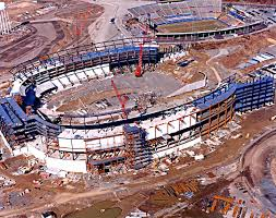 Picture showing both Foxboro Stadium and it's replacement Gillette Stadium.