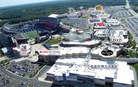 Aerial view of Patriot Place and nearby Gillette Stadium.