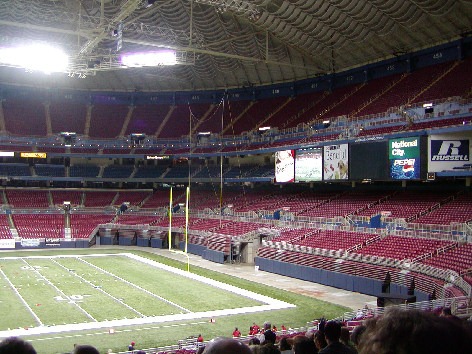 View of the Edward Jones Dome football field and seating.