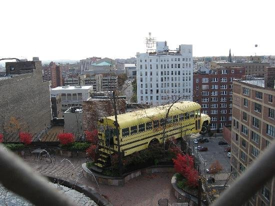 The school bus on top of the roof