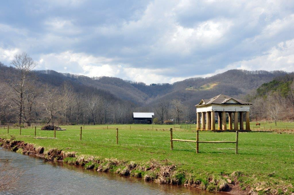 The pavilion remains standing in a beautiful rural landscape right outside Alderson, WV