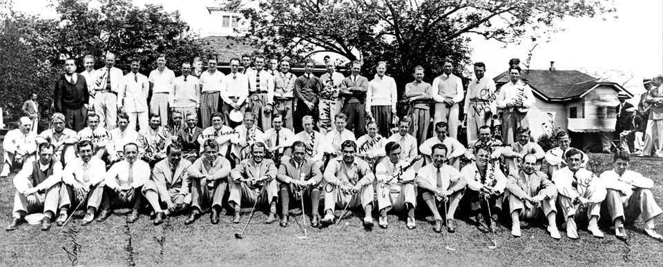 """The field for the 1935 Masters poses in front of the Clubhouse."" Photo courtesy of http://www.masters.com/en_US/discover/timeline.html."