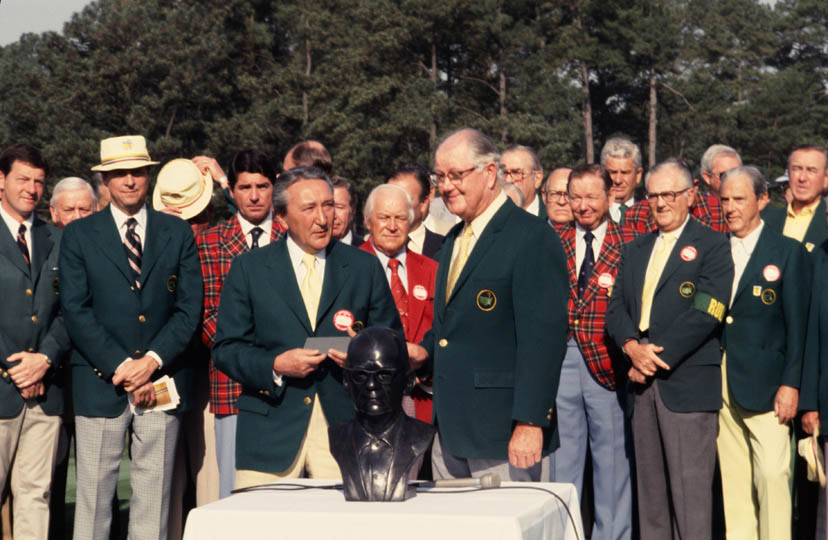 """William H. Lane (front left) and Byron Nelson honor Clifford Roberts with a bronze bust."" (1976) Photo courtesy of http://www.masters.com/en_US/discover/timeline.html."