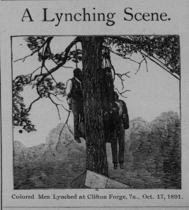 Charles Miller, John Scott, William Scott, and Robert Burton were lynched near this location on October 17, 1891. Photo from the Richmond Planet, an African American newspaper.