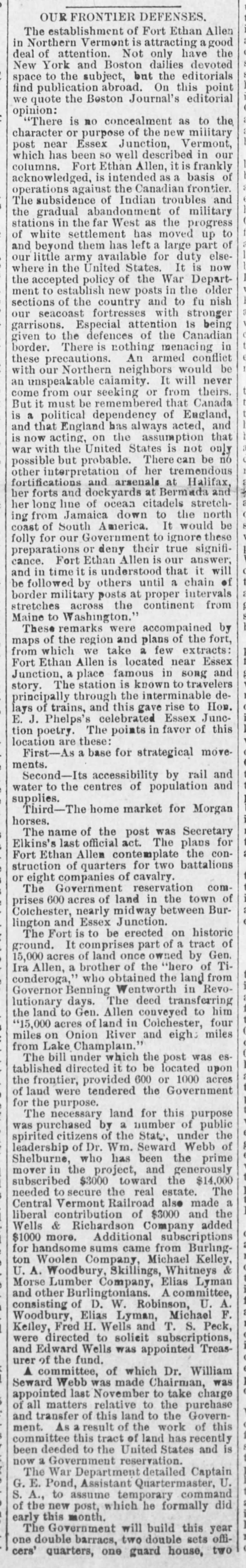 Article in the Bennington (VT) Banner dated March 24, 1893 that speculates to the reasons behind the commissioning of Fort Ethan Allen.