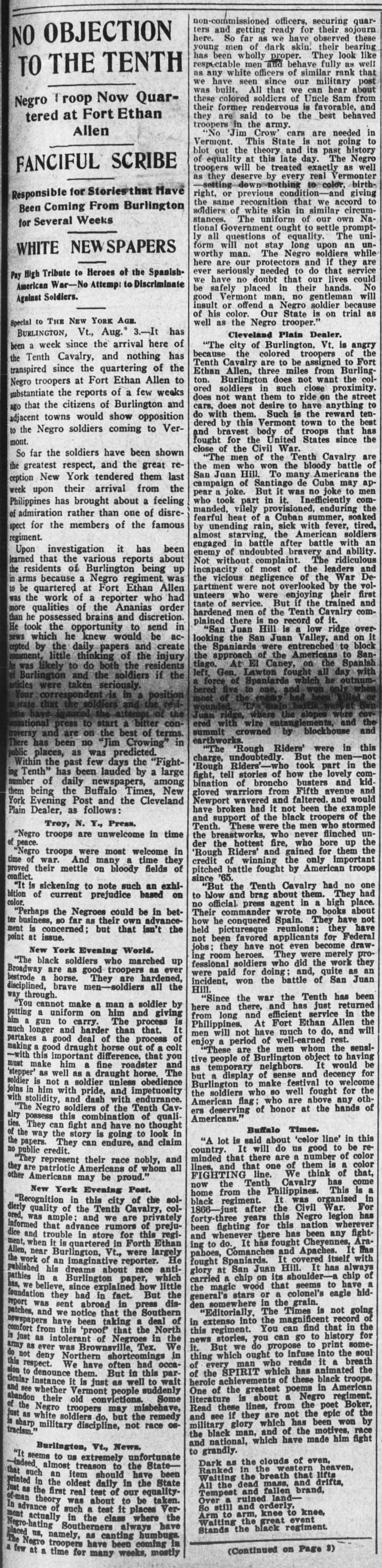New York Age article dated August 5, 1909 refuting accusations made by an dishonest reporter against the citizens of Burlington, Vt regarding their treatment of the Buffalo Soldiers stationed at Fort Ethan Allen. The New York Age was the...