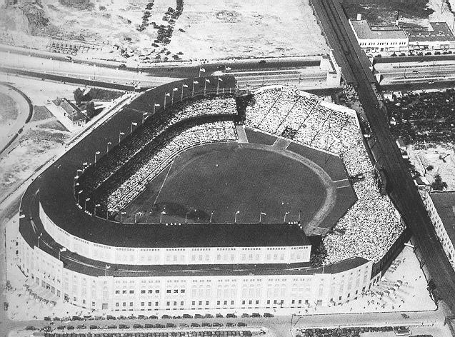 Aerial view of Yankee Stadium as it looked from 1928 - 1936 before night time baseball.