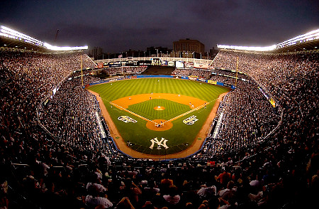 Yankee Stadium at night.