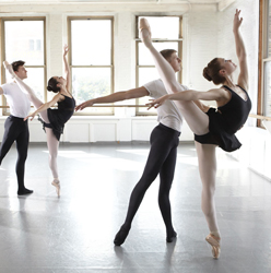 Many dancers dream of attending the Joffrey Ballet School in hopes of landing professional roles and leads in ballet companies. Here four hopefuls are training in one of the six studios.