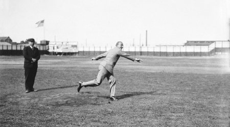 Ty Cobb throwing the first pitch at Hamtramck Stadium.