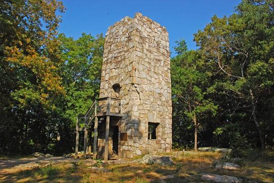 A stone fire tower in the present date