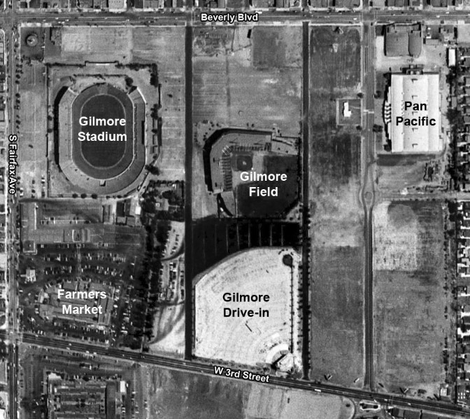 Aerial view of Gilmore Stadium. Select satellite view and zoom in on map to see relation to CBS Television City.