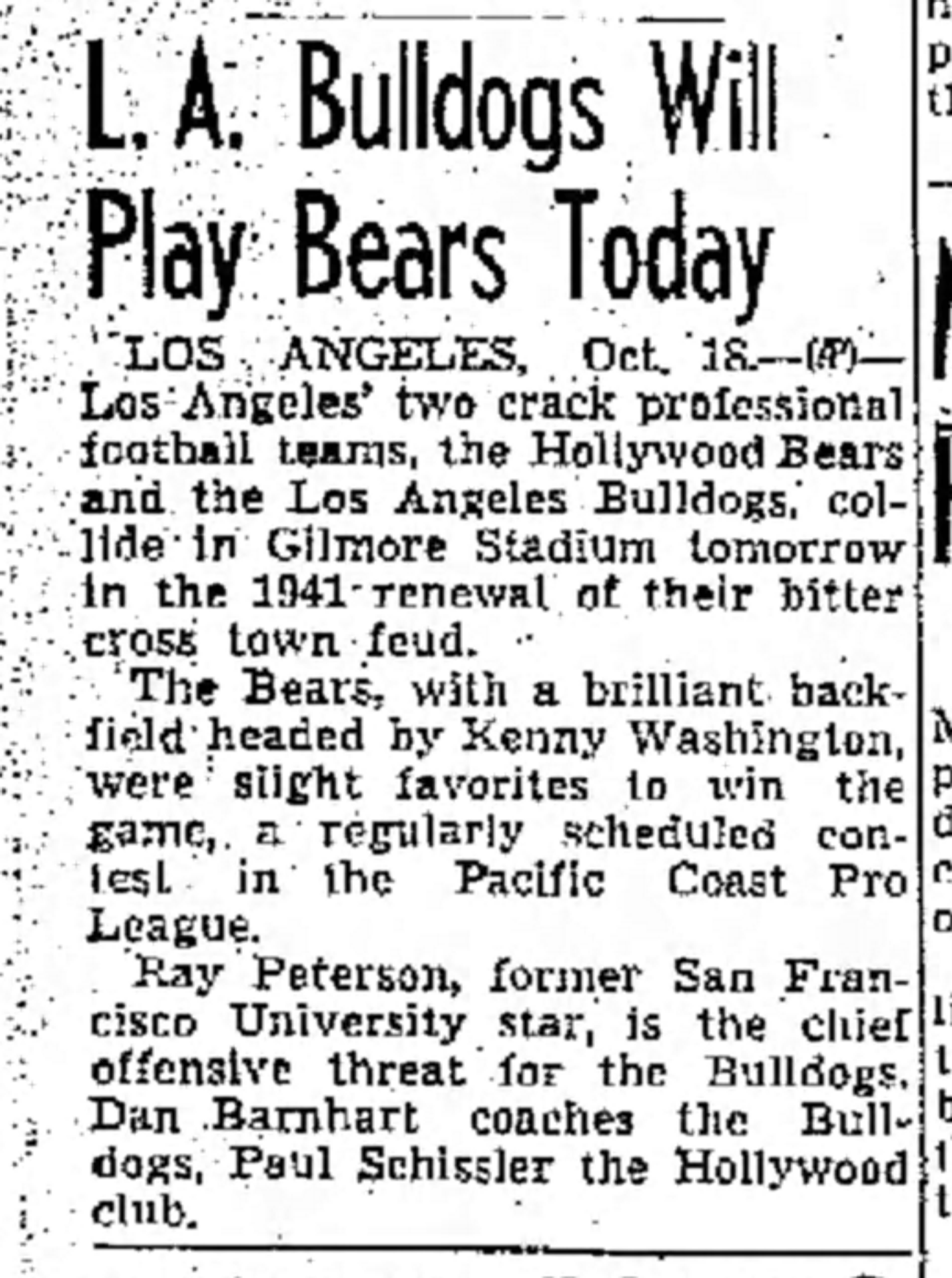 1941 Fresno Bee article announcing a Los Angeles Bulldogs vs Hollywood Bears game.