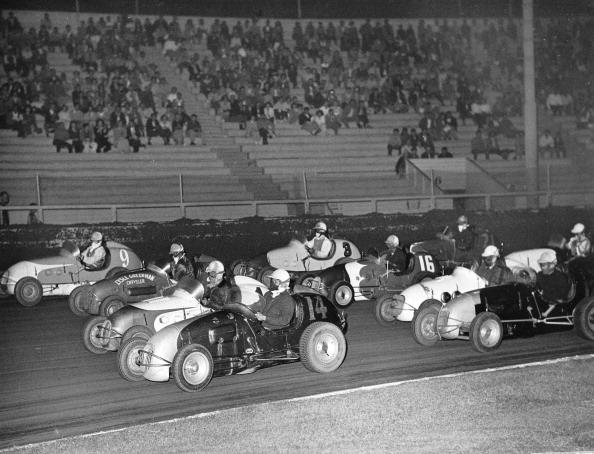 Midget cars racing at Gilmore Stadium in the 1940s