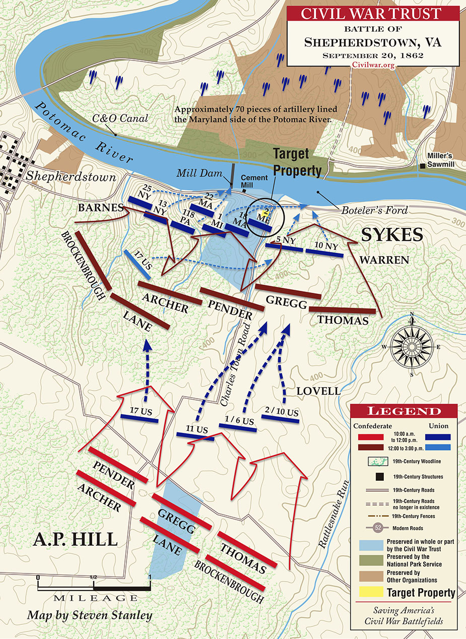Map of the Battle of Shepherdstown by the Civil War Trust