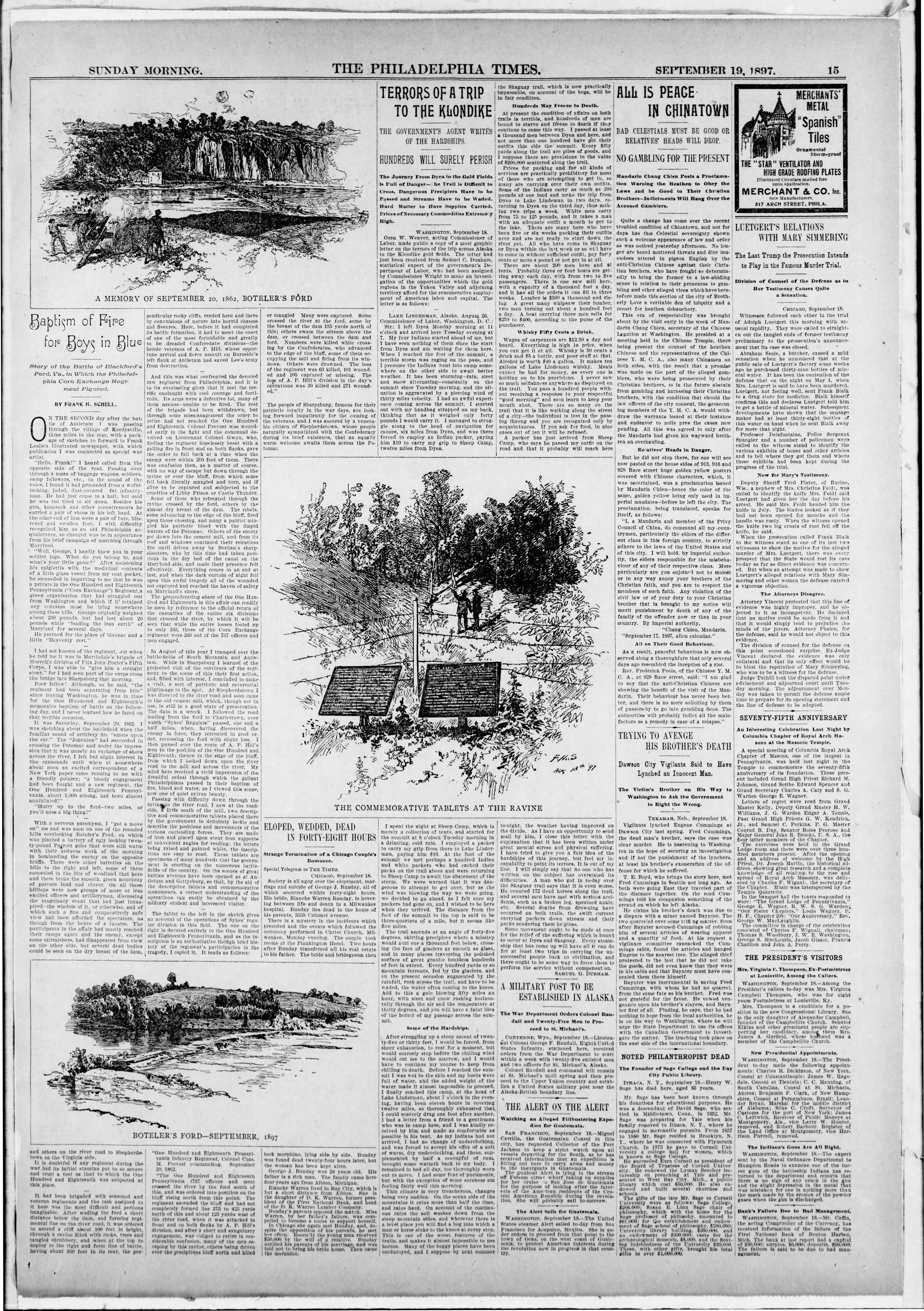An article from The Times (Philadelphia, PA) newspaper with personal description of the Battle of Shepherdstown. Dated September 19, 1897