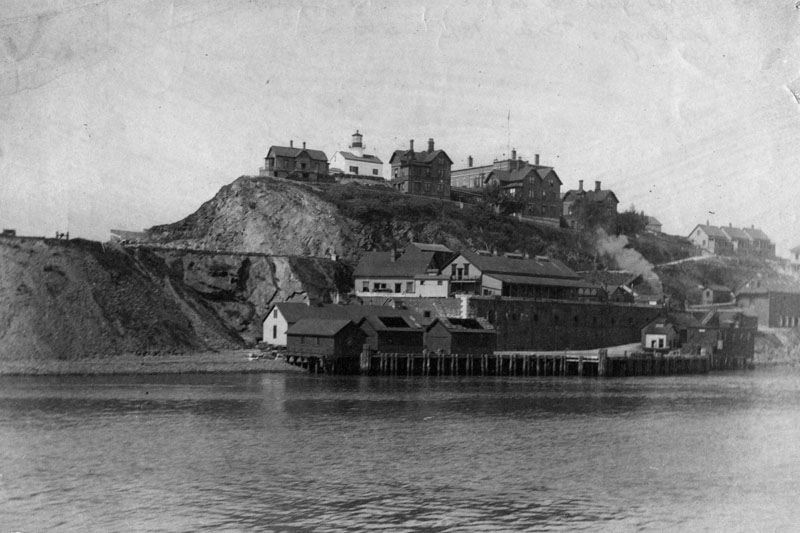 View of Alcatraz Island in 1895, showing the lighthouse and prison buildings.