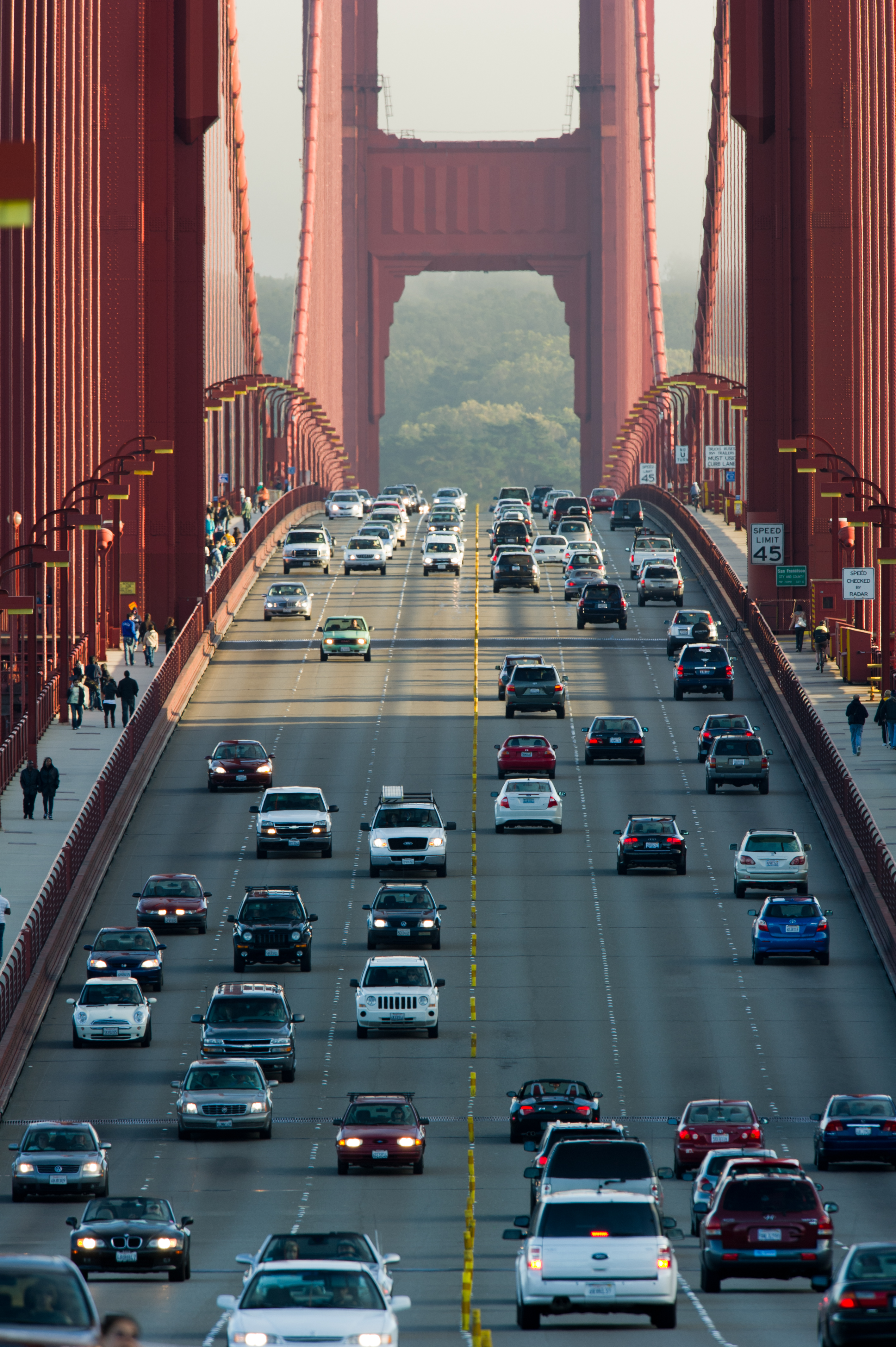 "Golden Gate Bridge traffic.  ""Golden Gate Bridge SF CA North View"" by Bill Ebbesen. Licensed under CC BY 2.5 via Wikimedia Commons."