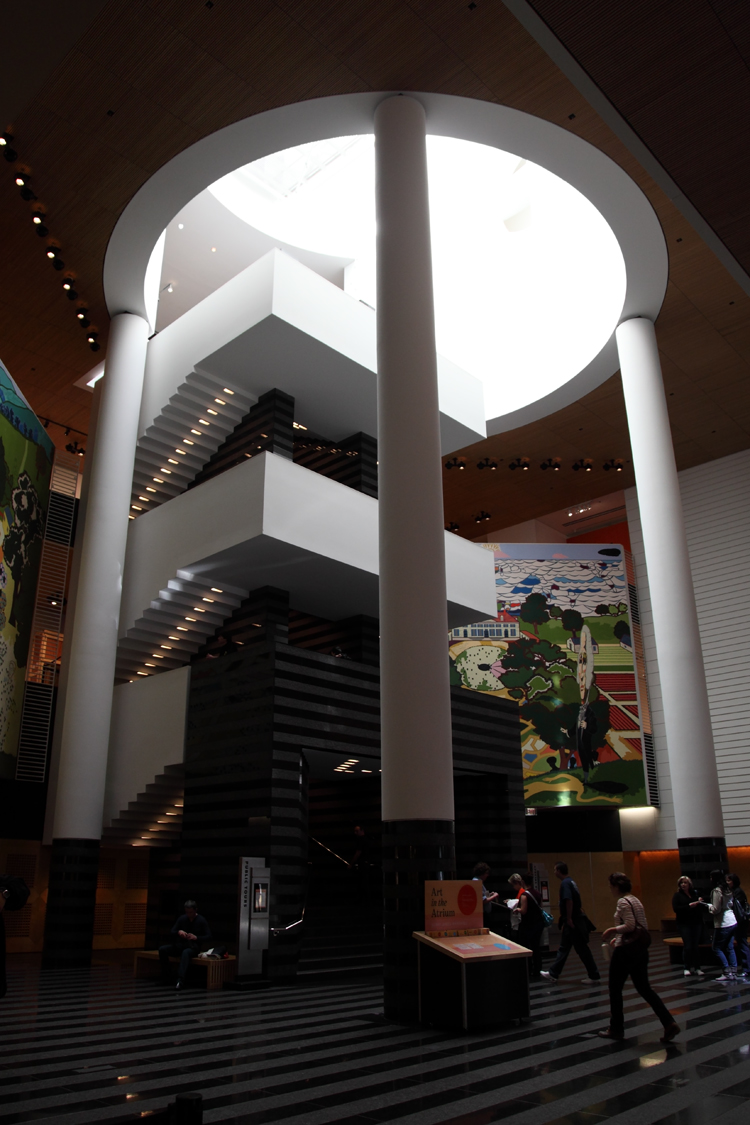 The atrium features a large skylight.