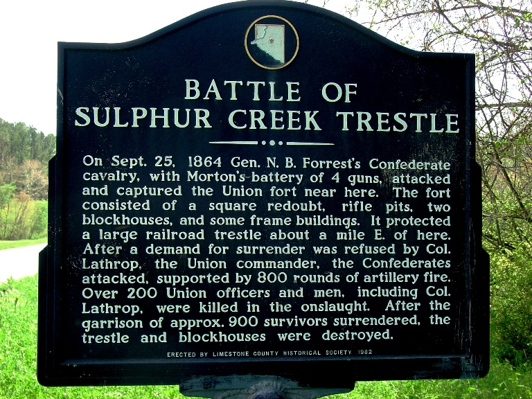 Historical Marker of The Battle of Sulphur Creek Trestle