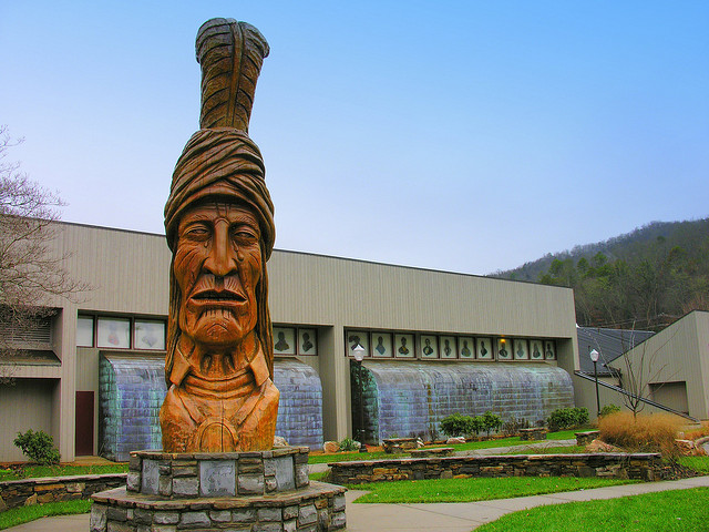 A twenty-foot, hand-carved statue of Sequoyah, the inventor of the Cherokee alphabet is at the Museum's entrance