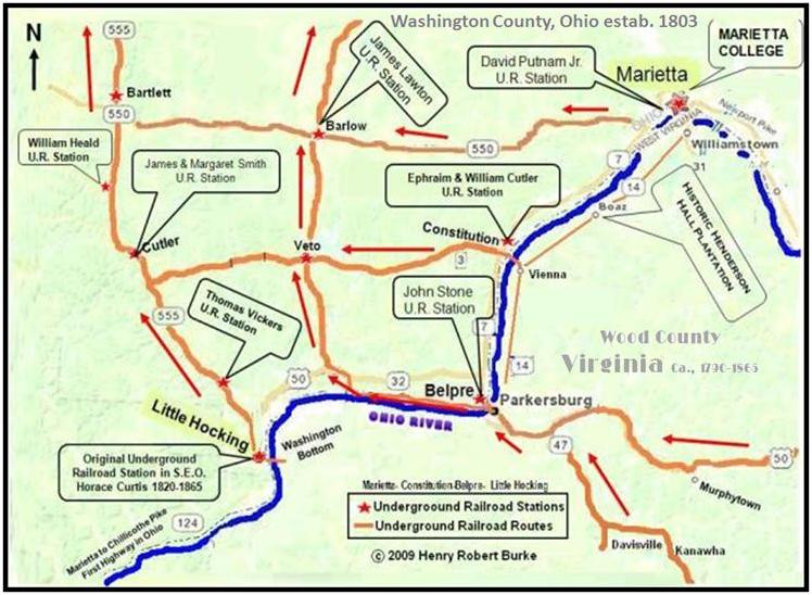 Map illustrating Underground Railroad stations in Eastern Ohio.