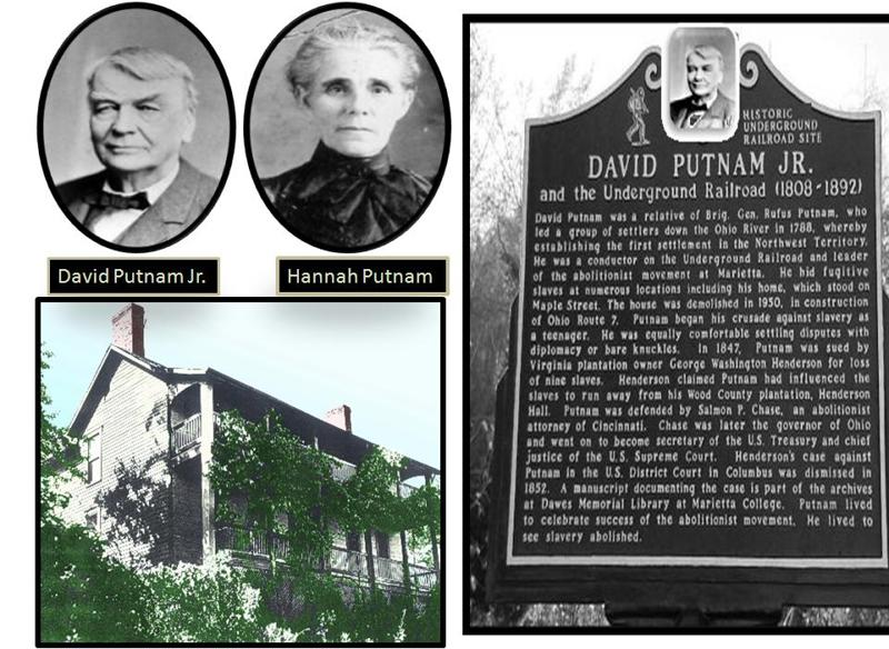 David and Hannah Putnam, an Underground Railroad plaque dedicated to the Putnams and the house that was at 510 Fort Street, which was torn down to build the nearby bridge.