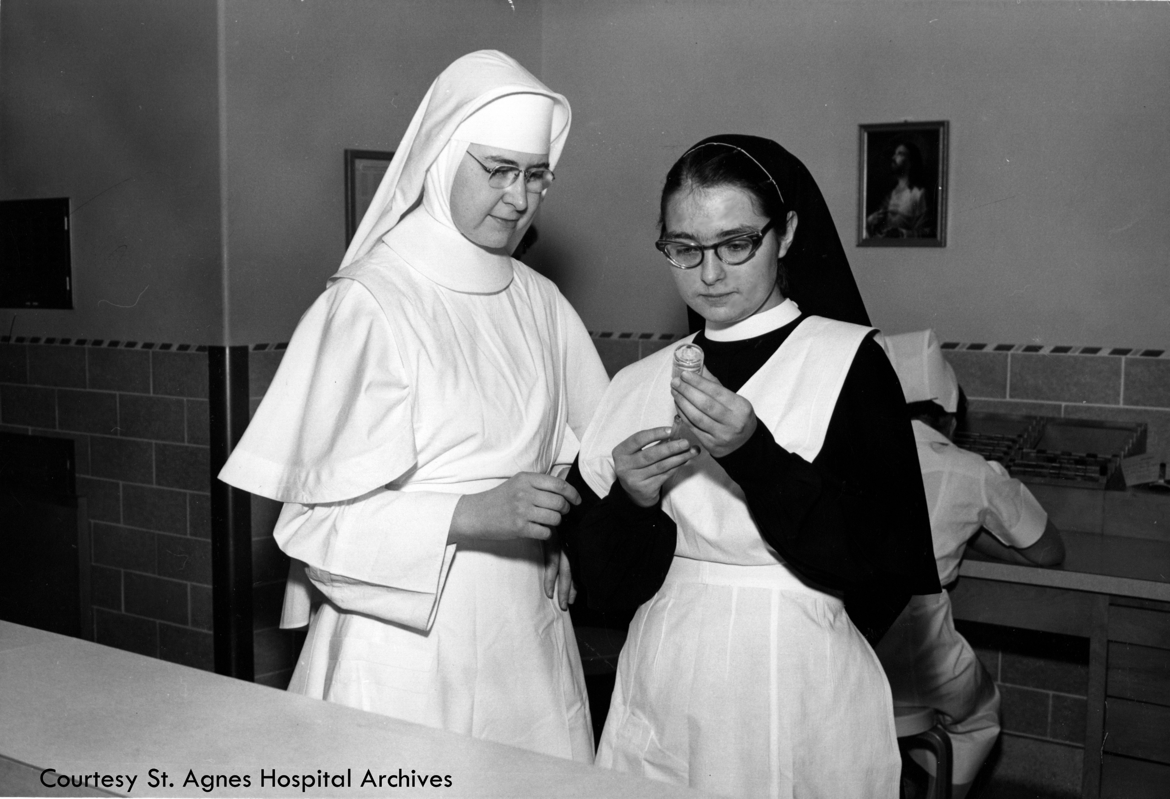 Sister Anne Jude Van Lanen with candidate and nursing student Mary Jean Mand, c. 1961.