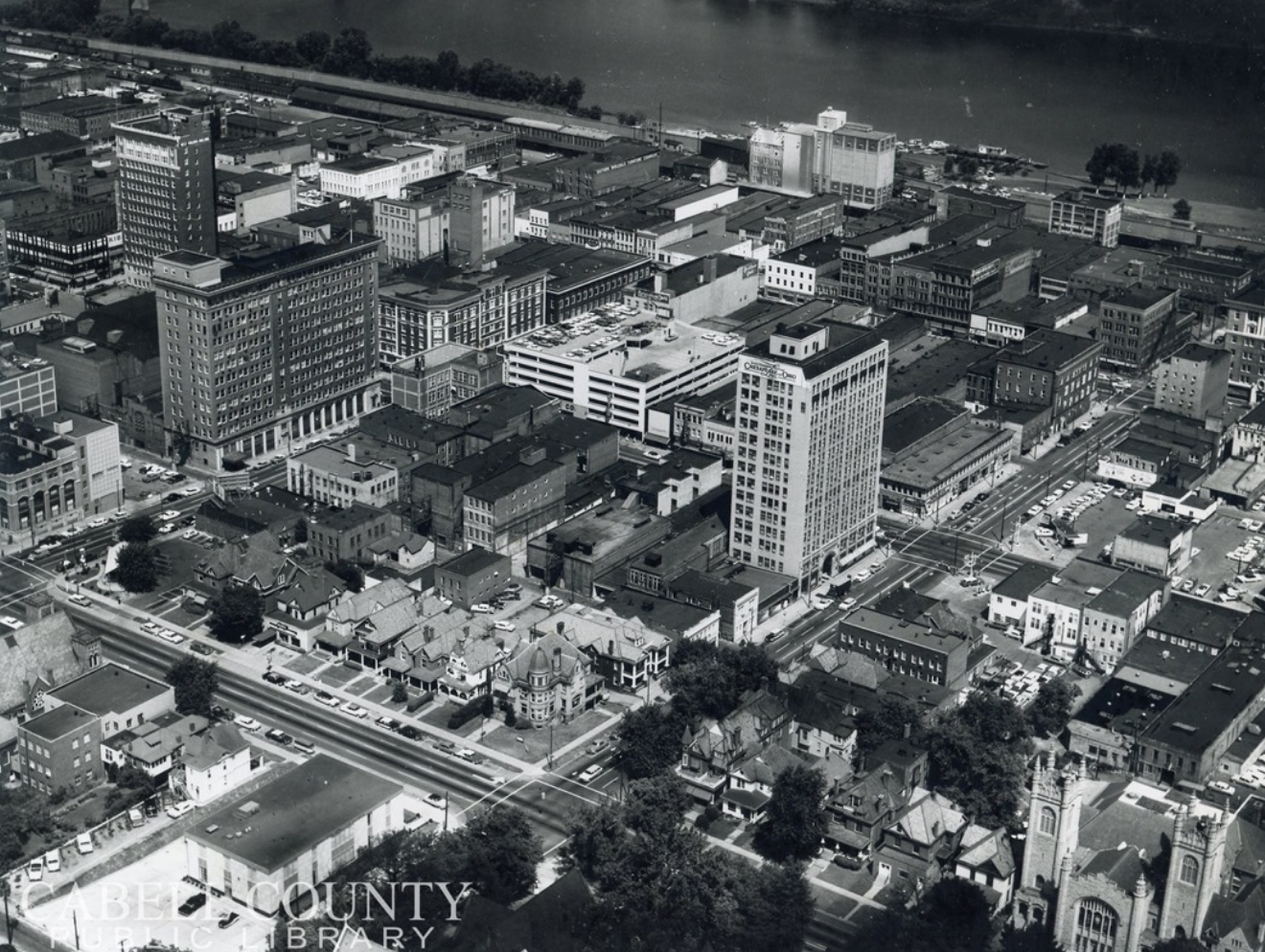 Aerial view of downtown Huntington, with the mill visible at the top