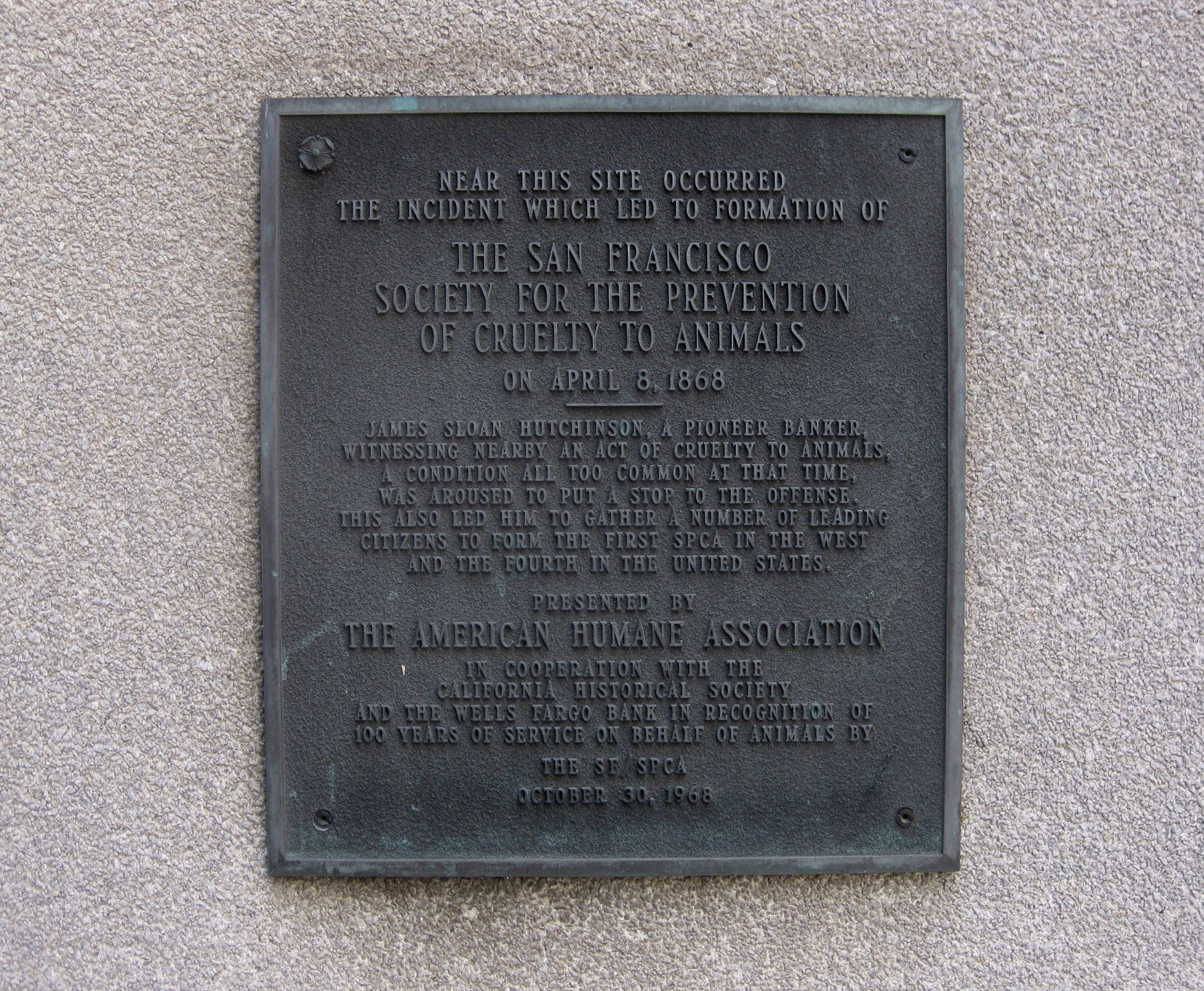 San Francisco Society for the Prevention of Cruelty to Animals (SF SPCA) Historical Marker
