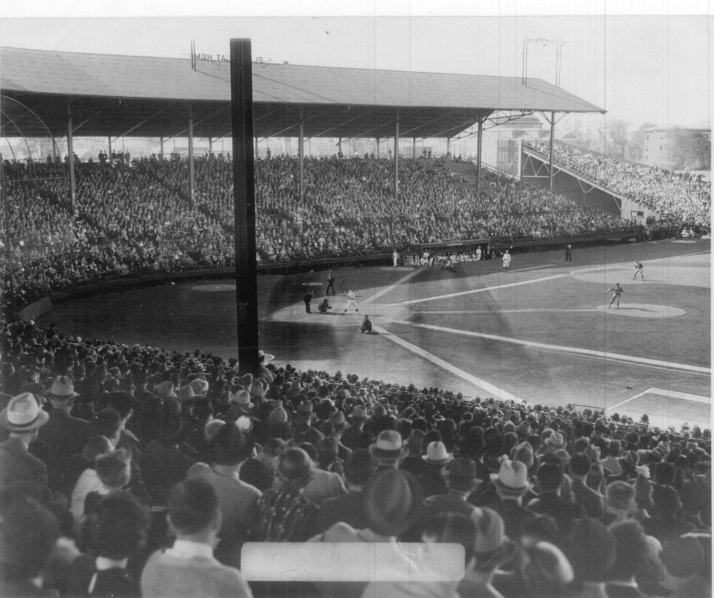 "Photograph from the inside of the park- ""Baseball Park, Crowd, Parkway Field,"" http://hdl.handle.net/10602/10494"