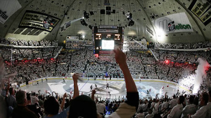 This is what the Civic Arena looked like on the inside. This arena could seat over 17,000 people.